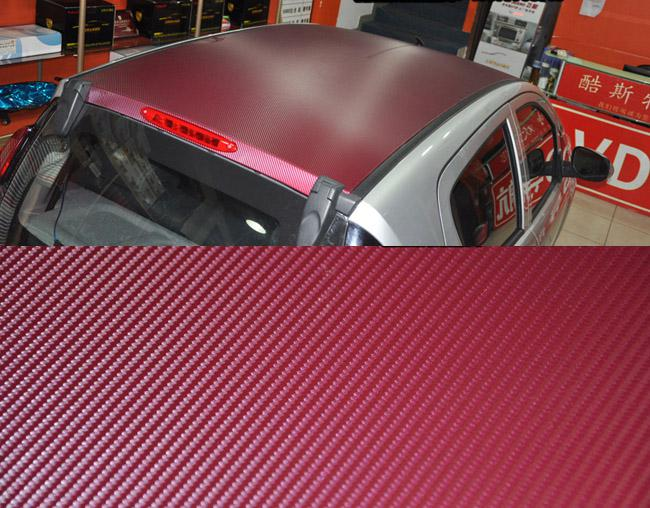 3D Carbon Fiber Vinyl Car Sticker Big Square Texture Film Air Free Wine Red color 1.52m*30m/roll Fedex free shipping with Free Gift Scraper