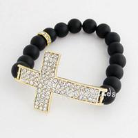 Wholesale Stretch Sideways Beads Bracelet - Free Shipping 20 Pcs lot Hot Black Matte Agate Beads Stretch Bracelets with Sideways Cross PHB-003