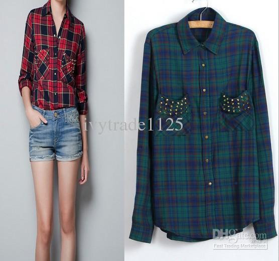 EURO HOT NEW ARRIVAL FASHION WOMEN'S TURN DOWN COLLAR BLOUSE BEAUTIFUL POCKET WITH RIVETS GEOMETRIC