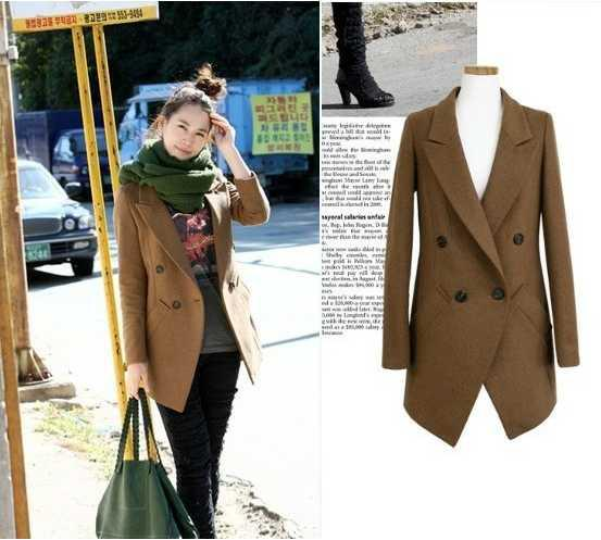 Slim Ol Commuter Double Breasted Women Wool Coat Blazer Lady Long ...