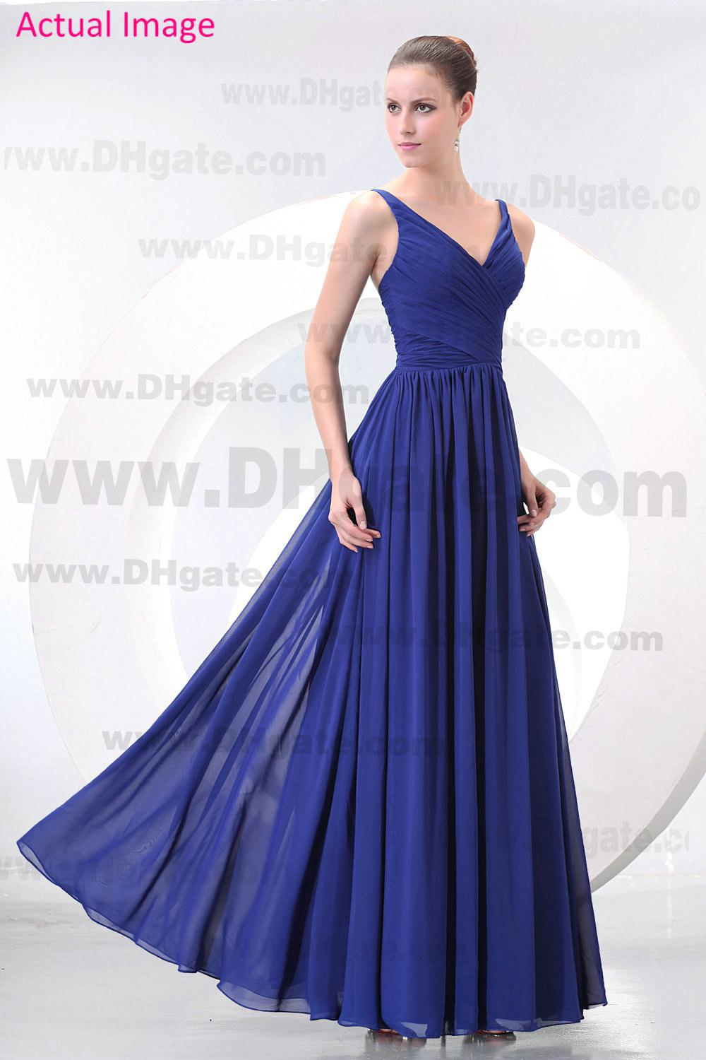 2013 Fall Simple Bridesmaid Dresses V Neck Pleated Bodice Ankle ...