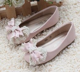 Wholesale Wholesale Girls Childrens Footwear - 2013 Pearl Bowknot Shoes Girl Childrens Flats Princess Footwear Pink Color SZ:24-35 mix order