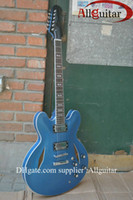 Barato Hollow Guitars Venda-HOT SALE Custom Dave Grohl Signature Metallic blue Jazz Guitarra elétrica corpo oco