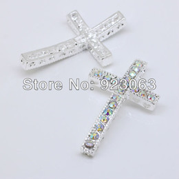 Wholesale Rhinestone Connectors For Bracelets - 50pcs Lot Fashion White AB Rhinestone Silver Curved Sideways Cross Connectors Beads For Bracelet ,DIY Jewelry Findings 23x39mm