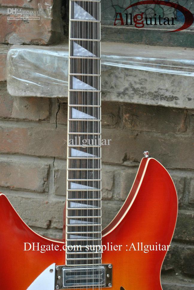 Venda quente 12 cordas canhoto Sunburst Guitarra Elétrica China Guitarra Frete Grátis