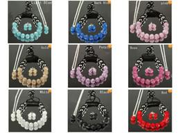 Wholesale Shamballa Stud Earrings Necklace - 11pcs crystal clay disco shamballa bracelet necklace stud earrings shamballa jewelry set hot sale