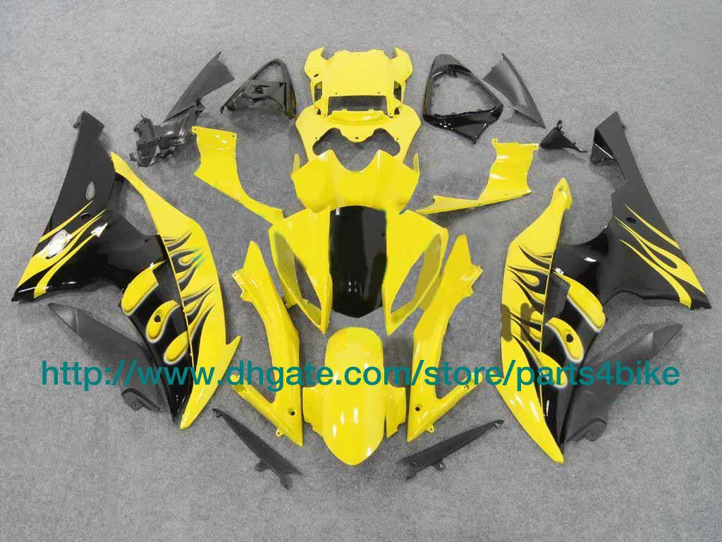 Kit custom carena YAMAHA YZFR6 08 09 YZF R6 2008 2009 carene fiamme giallo nero RX7o