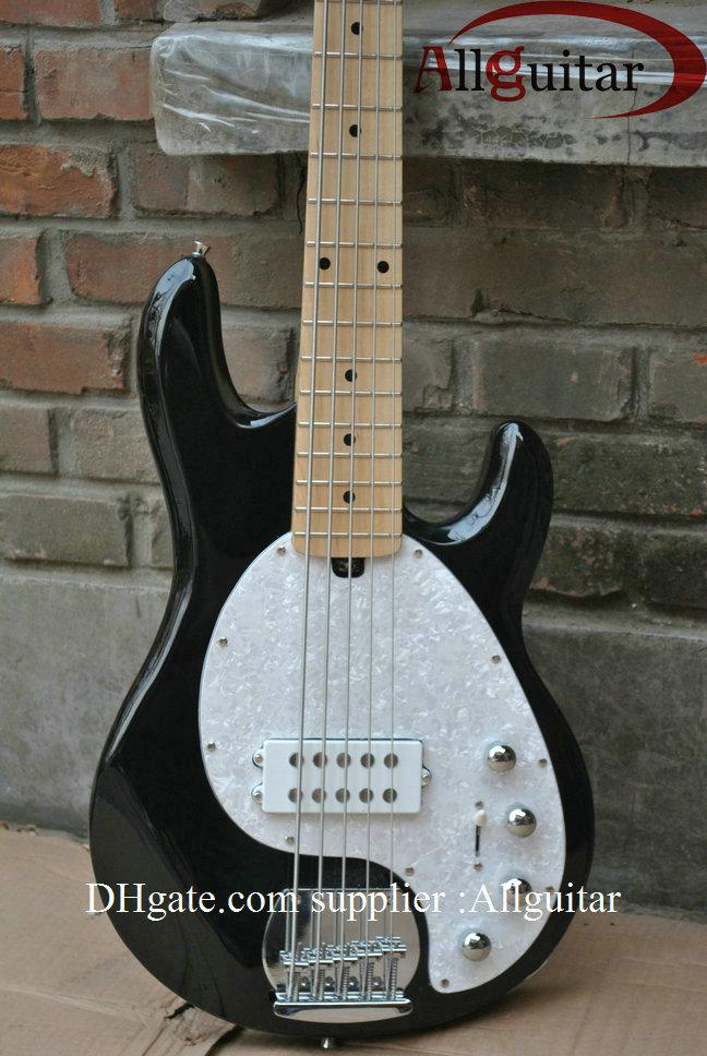 New Arrival Black 5 Strings Music StingRay Maple Electric Bass Guitar Active Pickups