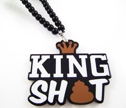 Wholesale Hip Hop Shit - New arrival!King Shit Hip Hop Acrylic Good Quality 1pcs lot pendant Rosary Bead Necklaces