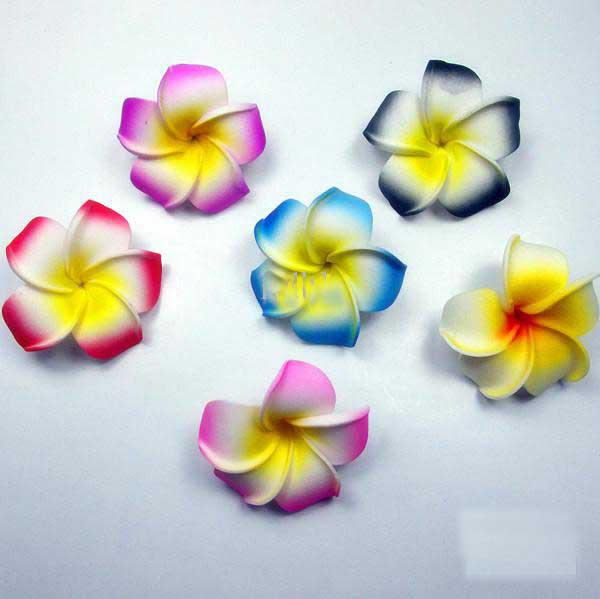 Free Shipping!!240pcs 3 Inch Hawaiian Plumeria Foam Flowers Hair Clips(8 colors mixed)