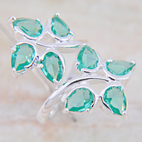 Wholesale Prasiolite Rings - Free Shipping Western Style Engagement Green Amethyst Prasiolite Gemstone 925 Sterling Silver Rings LR0125