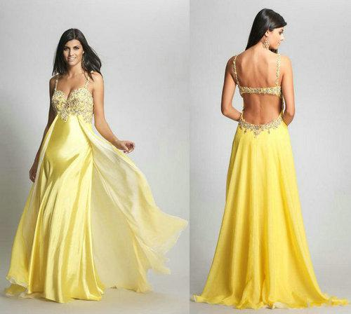 2013 Sexy Yellow Backless Evening Prom Dresses A Line Crystal ...