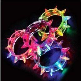 Wholesale Dazzling Party Bracelets - COOL ! Dazzling LED bracelet light up flashing bracelet Blinking Spike bracelet for party Adult&Kids