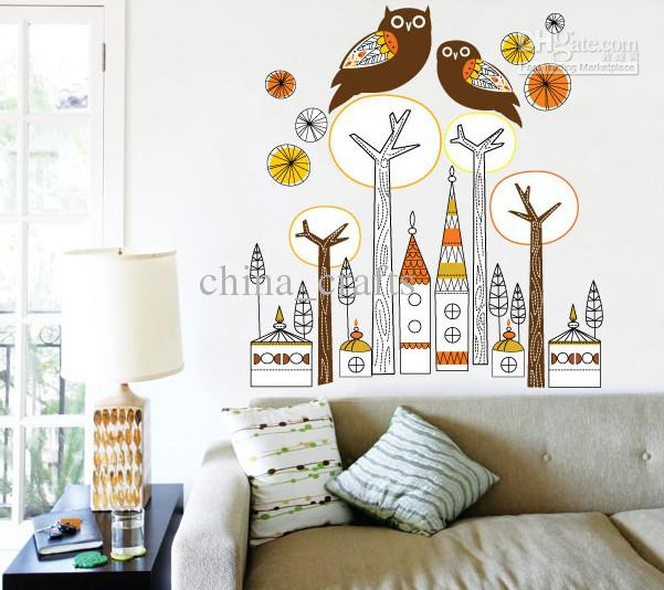 owl decor for living room removable owl wall stickers decals tree wall stickers 21232