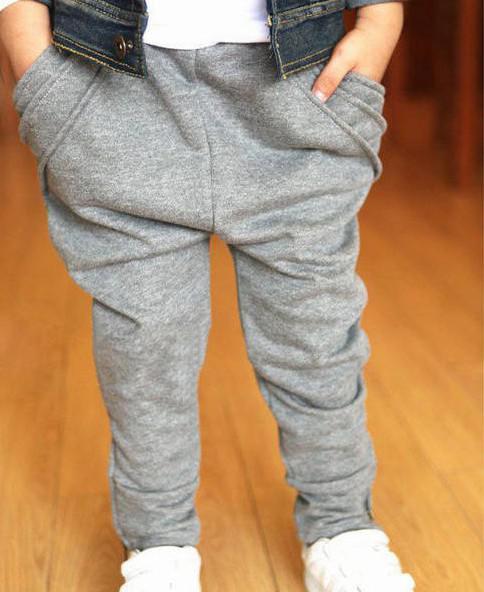 Calça Casual das crianças de algodão puro bolso com zíper mais fours meninos calças pés saltos Harem Pants