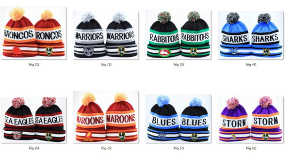 top popular New NRL Team Beanies Caps Sports Hats Mix Match Order 18 Teams All Caps in stock Top Quality Hat 2019