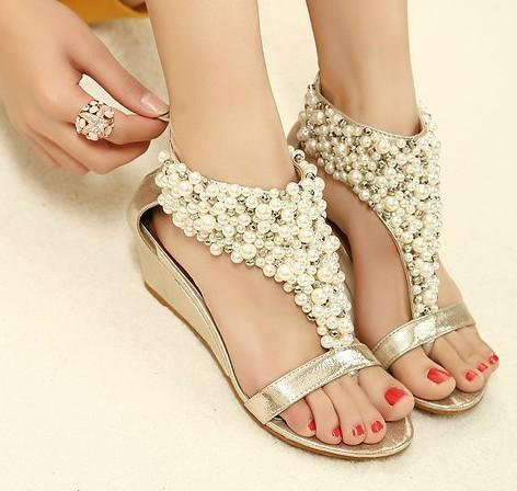2013 Rome Shiny Beaded Wedge Sandals Low Heeled Wedding Shoes Item 982268 Heels Gladiator From Tyh1984 3024