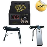 tattoo gun kits venda por atacado-Hot Pro Digital LCD Tattoo Power Supply + Pé Pétala + Cabo de Clipe Para Tatuagem Agulha Agulha de Tinta Kits de Aderência