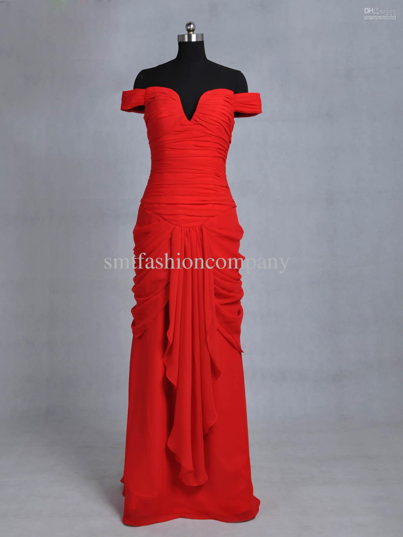 Gift ELE8245 Pretty Woman Red A Line ARuched Off The Shoulder Floor Length  Chiffon Evening Dress Dresses Evening Dresses Long Evening Dresses For Sale  From Smtfashioncompany, $141.3| DHgate.Com