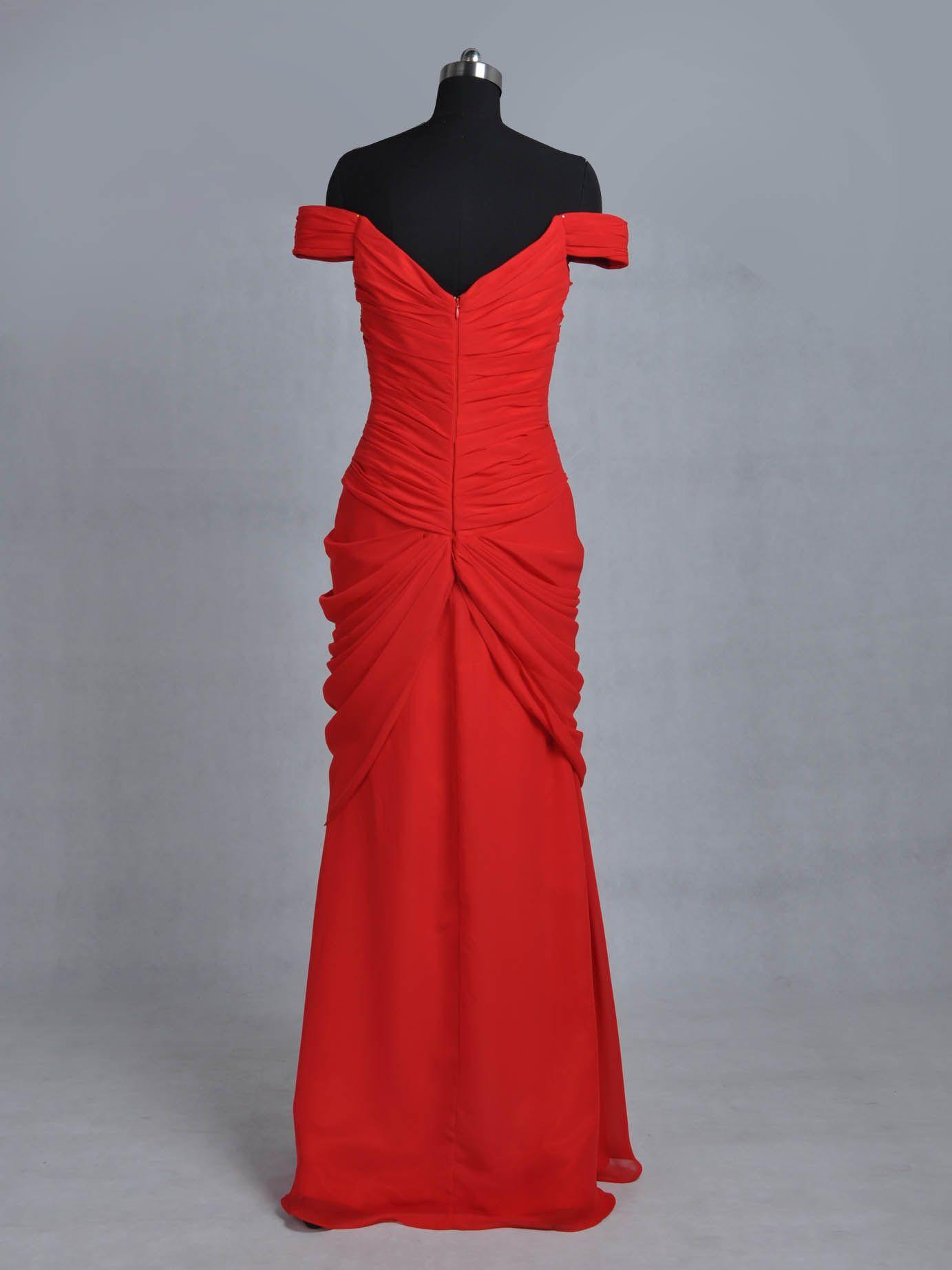 großhandel geschenk ele8245 pretty woman red a line aruched aus der  schulter bodenlangen chiffon abendkleid von smtfashioncompany, 118,54 € auf