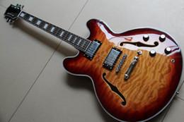 Wholesale Hollow Guitars - New Electric guitar Jazz Semi Hollow 335 model soild mahogany body best sunburst 130415 New Arrival