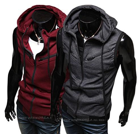 2017 New Fashion Slim Fit Hoodie Vest Men Stylish Sleeveless Zip ...