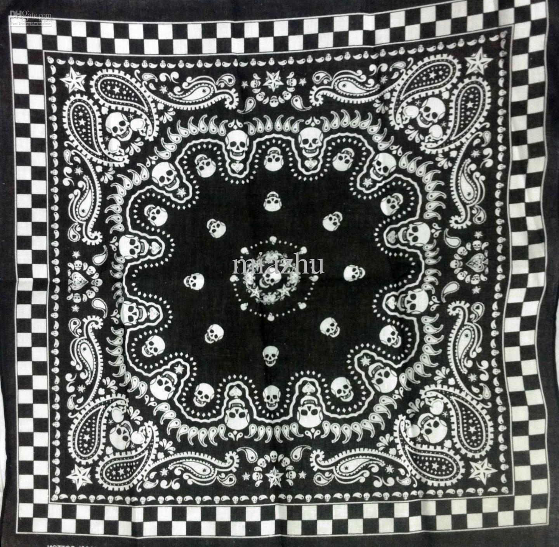 Vendita calda 12 pezzi Skull Print Bandane 100% cotone Bandana avvolgente polsino fascia da polso HIPHOP BANDANAS