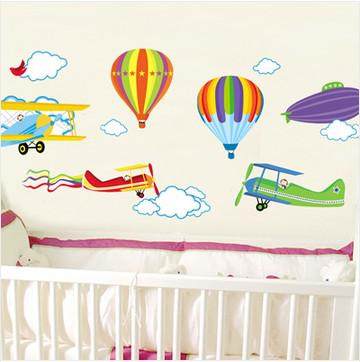 Hot Air Balloon And Aircraft Wall Stickers Kids Room Wall Stickers Decals  Baby Room Wall Decor