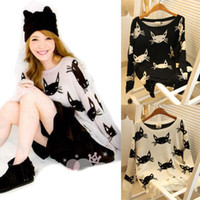 Wholesale Cat Cardigans - Womens Ladies Loose Hollow Cat Print Hole Knitted Cardigan Tops Sweater Pullover