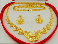 Wholesale butterflies jewellery - Upscale bridal jewelry set! Delicate butterfly high imitation gold Jewellery Set!