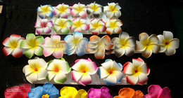 Wholesale Plumeria Hair - Free Shipping!! 120pcs 3 inch Hawaiian Plumeria Foam Flower Hair Clips(6 colors mixed)