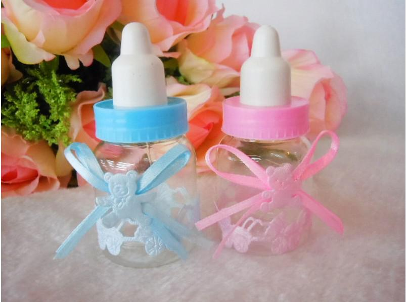Superb Wholesale 100pcs/lot Baby Shower Favors Little Bottle Baptism Gifts Candy  Boxes Feeding Bottle