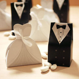 Wholesale Grooms Wedding Gifts - Hot Candy Box Bride Groom Wedding Bridal Favor Gift Boxes Gown Tuxedo 100 pcs = 50 pair New