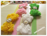 Wholesale Wool Cotton Chiffon - 18pcs 9 Color (5inch Chiffon Lace Bowknot + Pearl Diamond Center ) Hair Flower For Hair Headband