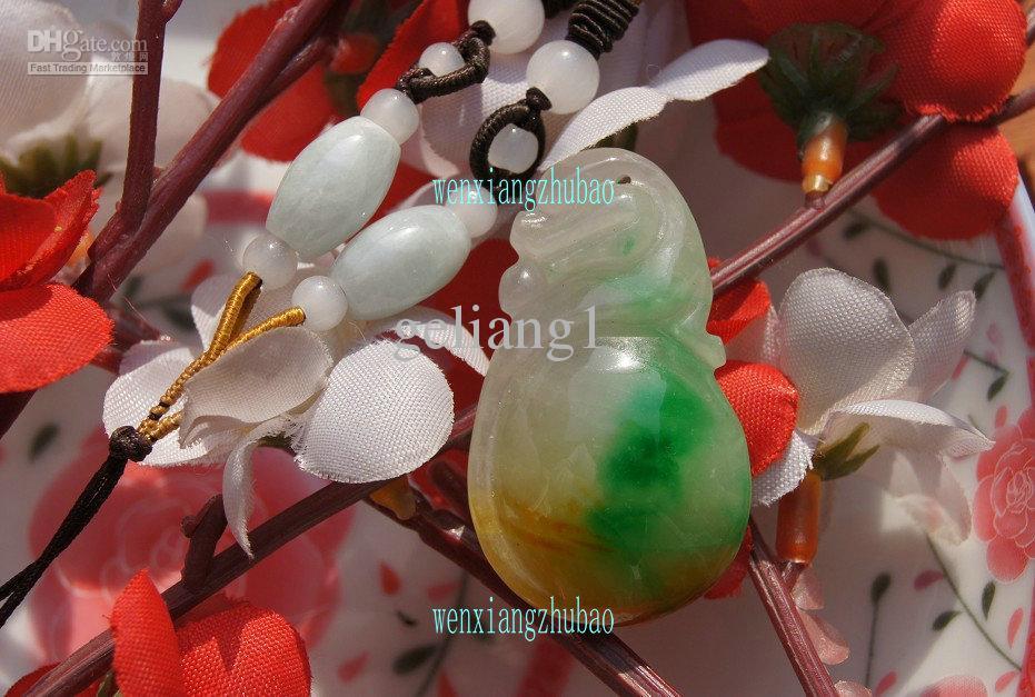 수동 양면 조각, 노란색, 녹색, 에메랄드 Ruyi.Fortunately, 목걸이 펜던트 39 x 23x12mm