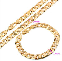 (115S)18k Gold Filled Men Set Necklace and Bracelet with Env...