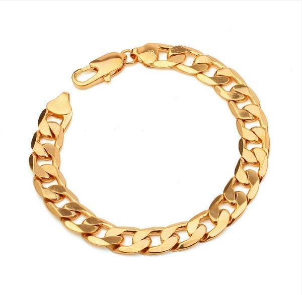 115S collier et bracelet d'hommes sertis d'or 18k remplis de cuivre écologique