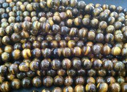 perlas de fluorita al por mayor Rebajas Nueva Moda 10mm flojo ojo de tigre redondo granos 390 unids / lote