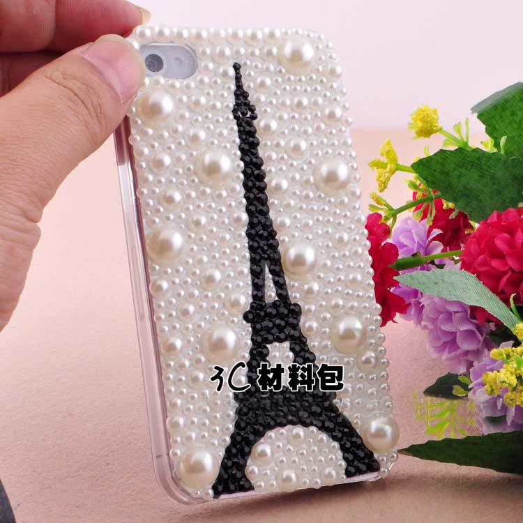 3d Luxurious Black Tower Rhinestone Art Craft Cellphone Mobile Phone