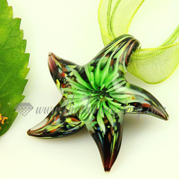 Wholesale Glass Starfish Necklace - Starfish flower murano glass handmade lampwork necklaces cheap glass pendants fashion jewelry necklaces Mup2978