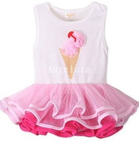 Wholesale Cream Tanks - Summer Baby kids Pink Ice Cream Tiered Tutu Tank Dresses Baby Party Cake Sleeveless Dress 7722