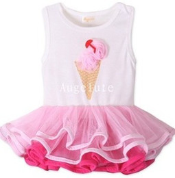 Wholesale Cream Tutu - Summer Baby kids Pink Ice Cream Tiered Tutu Tank Dresses Baby Party Cake Sleeveless Dress 7722
