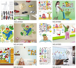 Wholesale Wall Paper Stickers Children Animals - hot cute designer 45*60cm removable Wall windows Sticker paper poster children Home Decor Room