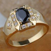 18k gold schwarzer onyx ring großhandel-Mann-ovaler schwarzer Onyx-Stein-längliche niedrige Gold überzogener Ring R117 GFLM Größe 10 11 12 J8200 Förderung