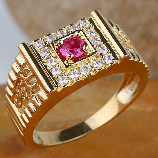 Men Round Ruby Stone Ring R125 Gflm Size 9 10 11 J8169