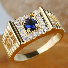 Wholesale Jewelry Blue Stone Rings - Men Gold Plated Ring with 4.5mm Round Simulated Blue Sapphire R125J Size 9 10 11 12 Fashion Jewelry