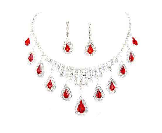 Free Crystal Rhine Ruby Wedding Bridal Necklace Earrings Jewelry