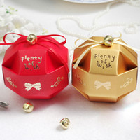 Wholesale Cute Chinese Wedding - 100 pcs Cute Candy Box with Little Bell Decoration Wedding Favor Candy Gift Boxes Gold or Red