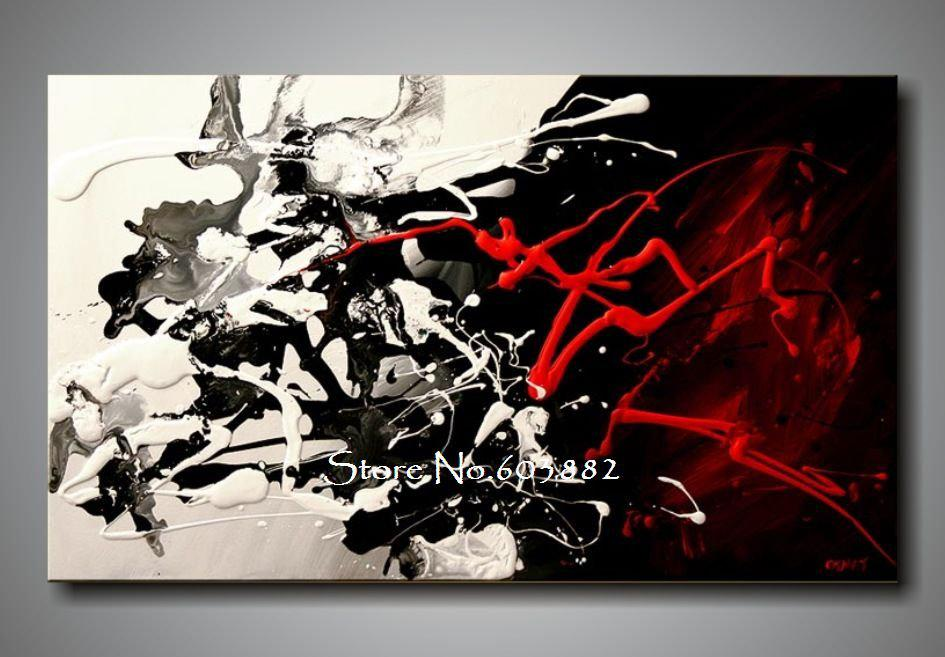 100% Hand Painted Discount Large Black White And Red Abstract Art ...