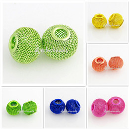 Wholesale Metal Basketball Bead - Free Shipping 500 Pcs lot 12mm Basketball Wives Earrings Round European Mesh Beads Mix Colors